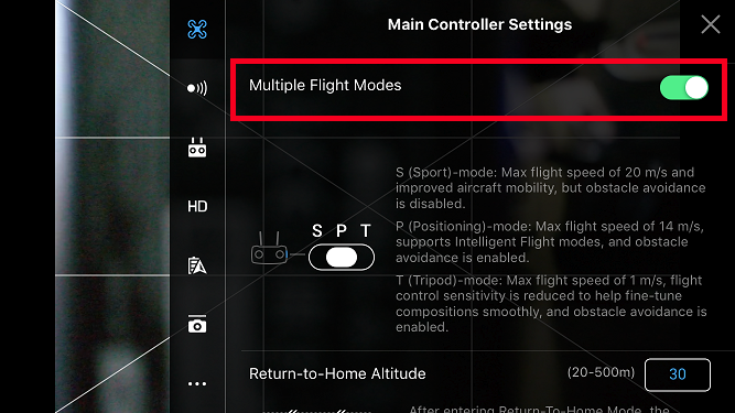 Can not select tripod or sport modes | DJI FORUM
